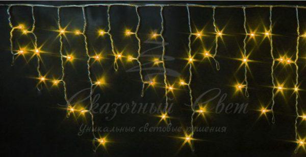 Светодиодная бахрома Rich LED 3х0.5 м мерцающая, прозрачный провод, Желтая