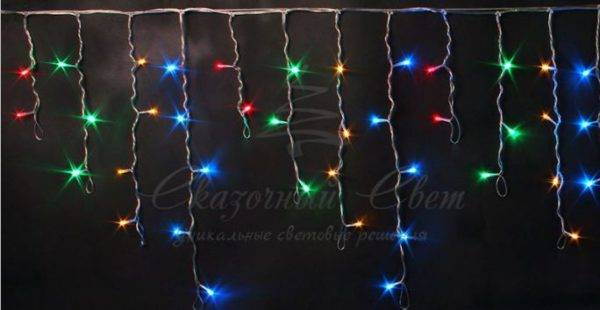 Светодиодная бахрома Rich LED 3х0.5 м мерцающая, прозрачный провод, Мульти