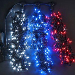 Светодиодная гирлянда Rich LED 3 Нити по 20 м мерцающая, ТРИКОЛОР, черный провод