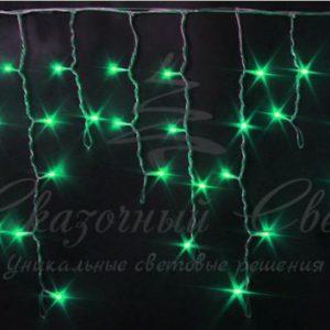 Светодиодная бахрома Rich LED 3х0.5 м мерцающая, прозрачный провод, Зеленая