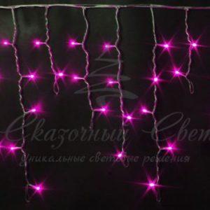 Светодиодная бахрома Rich LED 3х0.5 м мерцающая, прозрачный провод, Розовая
