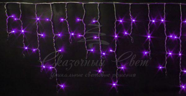 Светодиодная бахрома Rich LED 3х0.5 м мерцающая, прозрачный провод, Фиолетовая