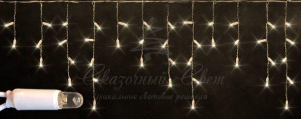 Светодиодная бахрома Rich LED 3х0.5 м мерцающая, IP65, герметичный колпачок, белый провод, Тепло-белая