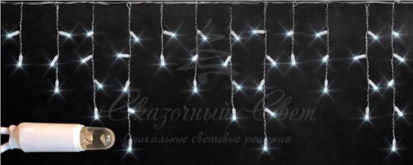 Светодиодная бахрома Rich LED 3х0.5 м мерцающая, IP65, герметичный колпачок, белый провод, Белая