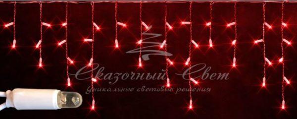Светодиодная бахрома Rich LED 3х0.5 м мерцающая, IP65, герметичный колпачок, белый провод, Красная