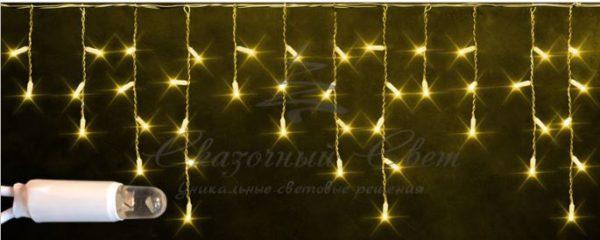 Светодиодная бахрома Rich LED 3х0.5 м мерцающая, IP65, герметичный колпачок, белый провод, Желтая
