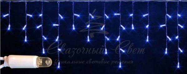Светодиодная бахрома Rich LED 3х0.5 м мерцающая, IP65, герметичный колпачок, белый провод, Синяя