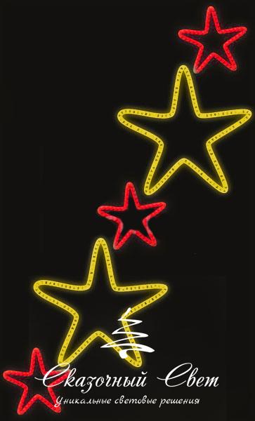 Светодиодная консоль Звезды 2-3, красно-желтые, RL-KN-083RY, размер 0.96*1.56 3