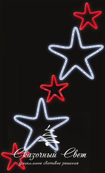 Светодиодная консоль Звезды 2-3, красно-белая, RL-KN-083RW, размер 0.96*1.56 3