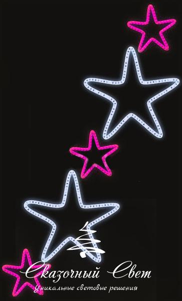 Светодиодная консоль Звезды 2-3, розово-белая, RL-KN-083PW, размер 0.96*1.56 3