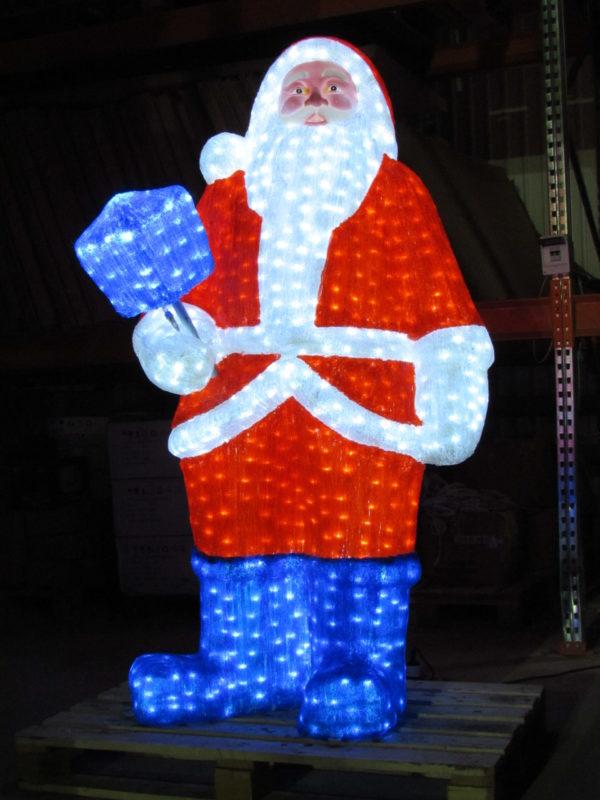 Дед Мороз 3D белый в красном полушубке, в синих сапогах с синим фонарем, 185х105см, 24В