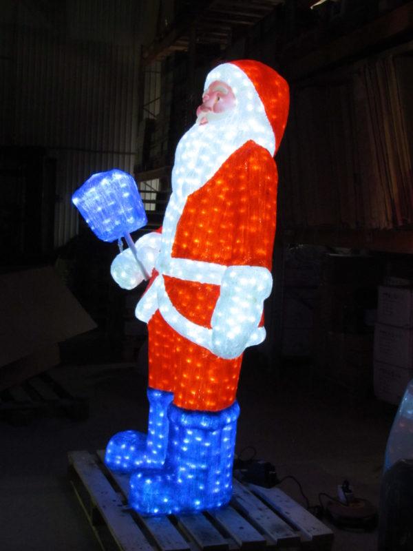 Дед Мороз 3D белый в красном полушубке, в синих сапогах с синим фонарем, 185х105см, 24В 2