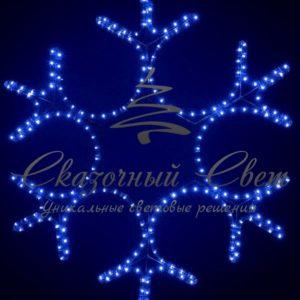 Светодиодная снежинка 80 см, синяя