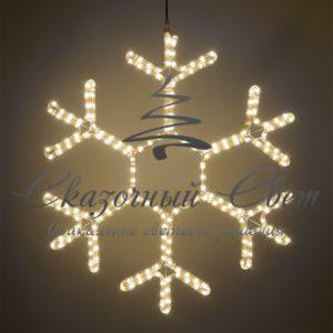 Светодиодная снежинка 50 см, тепло-белая