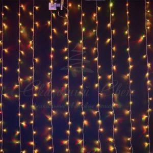 Светодиодный занавес RGB Хамелеон Rich LED, прозрачный провод, 1.5х2 м, RL-CS1.5*2-T/ARGB