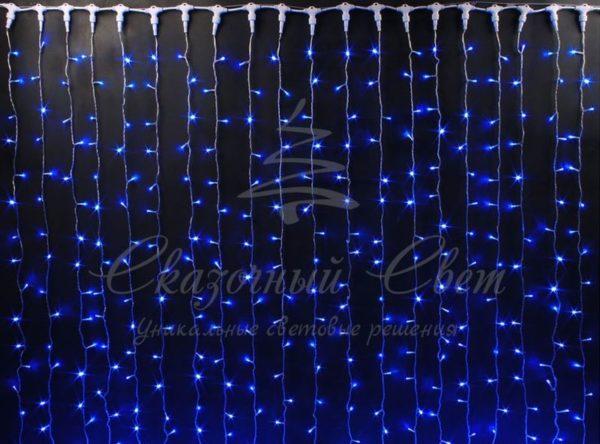 Светодиодный занавес Rich LED мерцающий, IP65, герметичный колпачок, белый провод, 2х6 м, синий