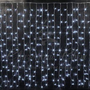 Световой дождь Rich LED облегченный, черный провод, 2х1.5 м, белый