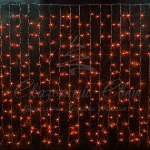 Световой дождь Rich LED облегченный, черный провод каучук, 2х3 м, красный