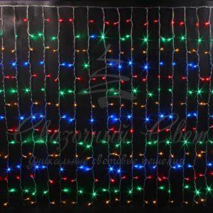 Световой дождь Rich LED облегченный, черный провод каучук, 2х3 м, мульти