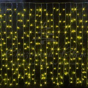 Световой занавесоблегченный мерцающийRich LED, герметичный колпачок IP65, белый провод, 2х1.5 м, желтый