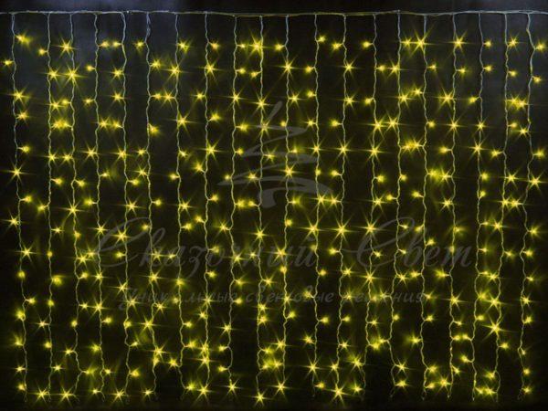 Световой занавесоблегченный мерцающийRich LED, герметичный колпачок IP65, белый провод, 2х1.5 м, желтый 3