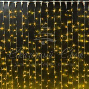 Светодиодный занавес Rich LED, прозрачный провод, 2х3 м, желтый