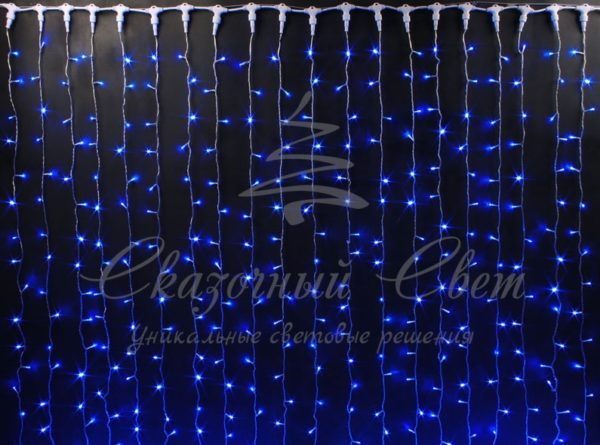 Светодиодный занавес Rich LED, прозрачный провод, 2х3 м, синий