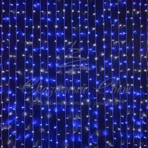 Светодиодный занавес Rich LED, прозрачный провод, 2х3 м, сине-белый