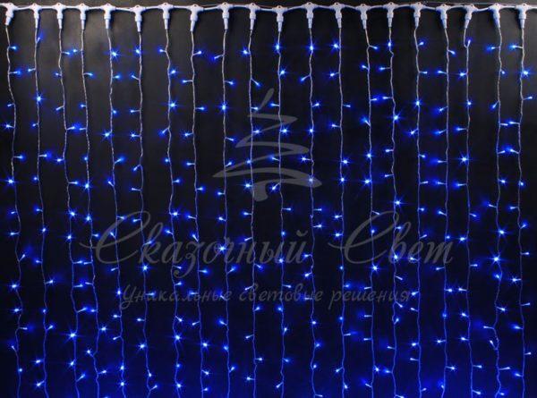 Светодиодный занавес Rich LED, прозрачный провод, 2х2 м, синий