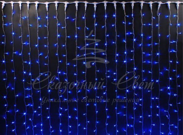 Световой занавес Rich LED облегченный, прозрачный провод, 2х1.5 м, синий