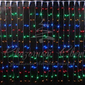 Световой занавес Rich LED облегченный, прозрачный провод, 2х1.5 м, мульти