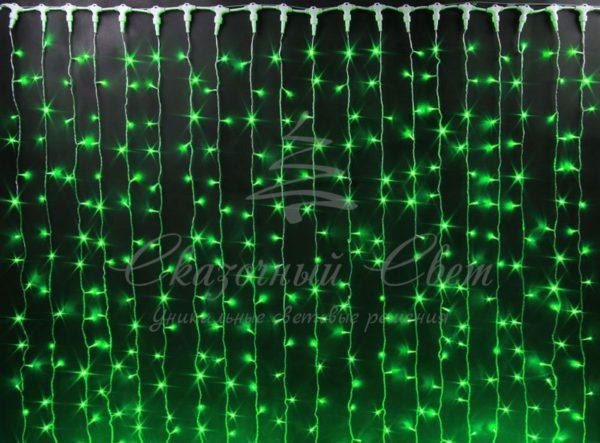 Светодиодный дождь Rich LED, черный провод, 2х6 м, зеленый