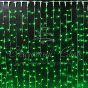 Световой занавес Rich LED облегченный, прозрачный провод, 2х1.5 м, зеленый