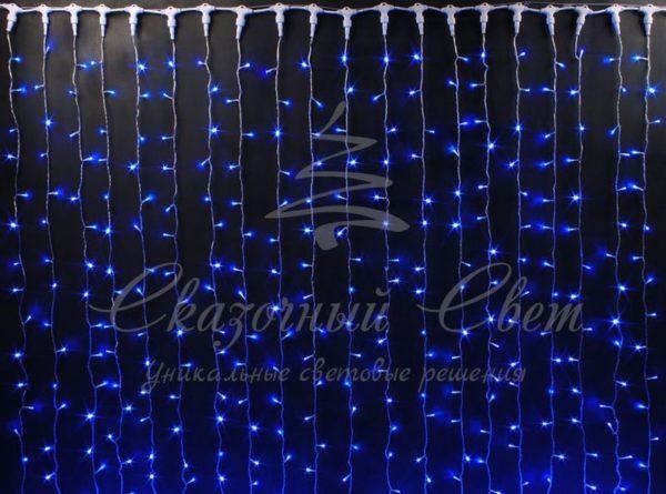 Светодиодный занавес Rich LED, герметичный колпачок, белый провод, 2х2 м, синий