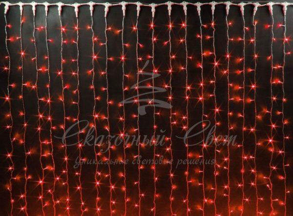 Светодиодный занавес Rich LED, герметичный колпачок, белый провод, 2х6 м, красный