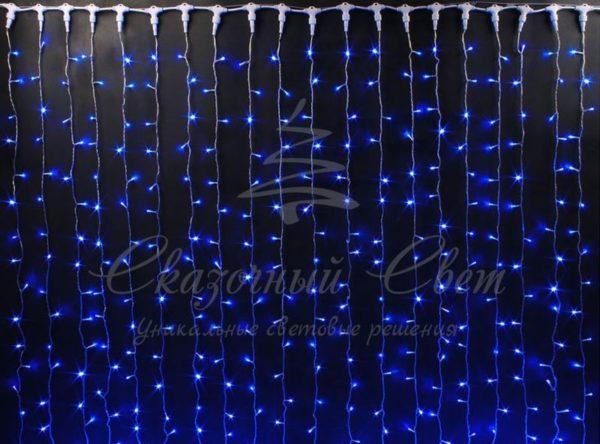 Светодиодный занавес Rich LED, герметичный колпачок, белый провод, 2х6 м, синий