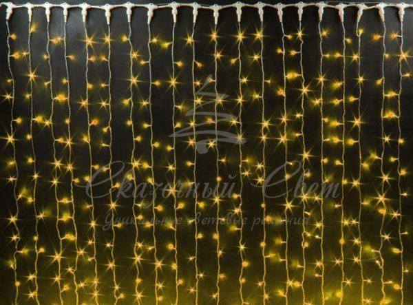 Светодиодный занавес Rich LED, герметичный колпачок, белый провод, 2х6 м, желтый