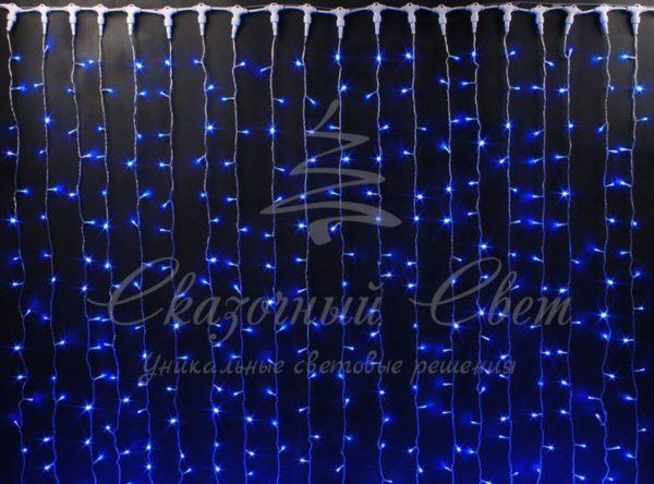 Светодиодный занавес Rich LED, герметичный колпачок, черный провод, 2х6 м, синий