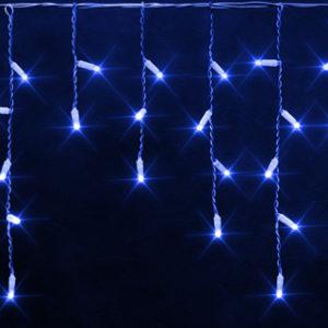 Светодиодная бахрома Rich LED 3х0.5 м белый резиновый провод, IP65, герметичный колпачок, Синяя