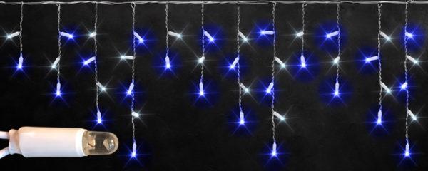Светодиодная бахрома Rich LED 3х0.5 м белый резиновый провод, IP65, герметичный колпачок, Сине-белая