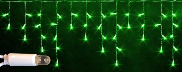 Светодиодная бахрома Rich LED 3х0.5 м белый резиновый провод, IP65, герметичный колпачок, Зеленая