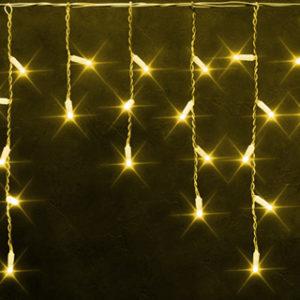 Светодиодная бахрома Rich LED 3х0.5 м белый резиновый провод, IP65, герметичный колпачок, Желтая