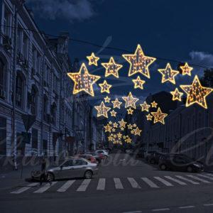 Светодиодная перетяжка «Звезды» 150х400см