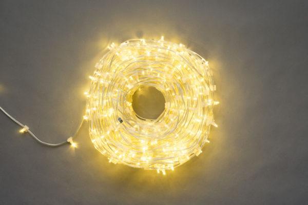 LED клип-лайт, длина 100М без трансформатора, тёплый белый, прозрачный провод