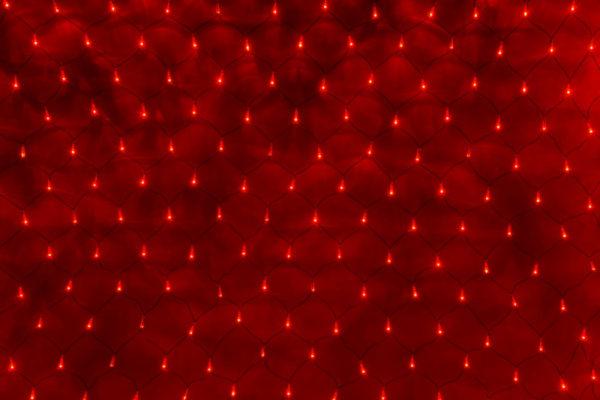 Гирлянда-сеть 2х1,5м, черный ПВХ провод, с контроллером, красный