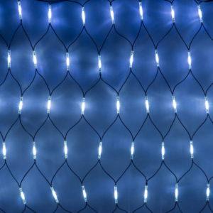 Гирлянда-сеть 2х4м, черный КАУЧУКОВЫЙ провод, свечение с динамикой, белый/синий