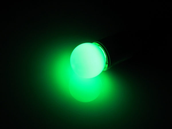 LED лампа - шарик с цоколем E27, 45 мм, (5 светодиодов), матовые, зелёный