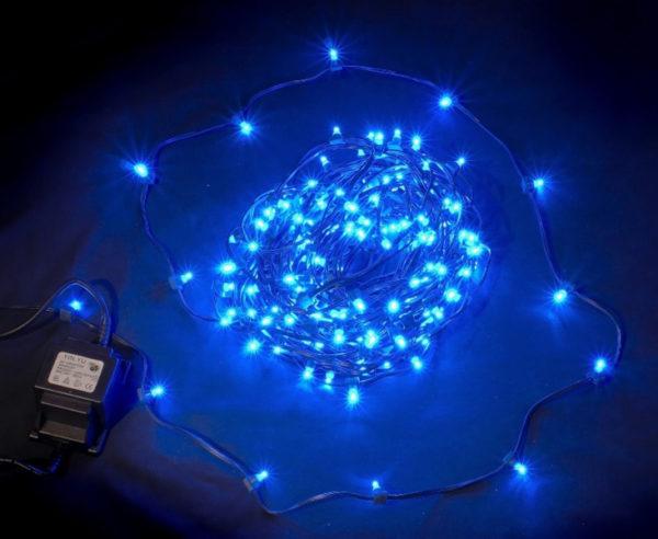 LED клип-лайт, длина 100М без трансформатора, синий, темно-зеленый провод 1