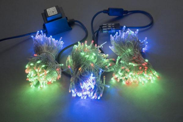 Гирлянда-спайдер Flash 3х20м, 600LED, прозрачный провод, мульти цвет/синий флэш