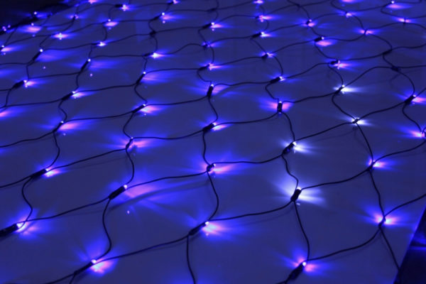 Гирлянда-сеть 2х2м, черный ПВХ провод, с мерцанием, синяя (белый флэш)